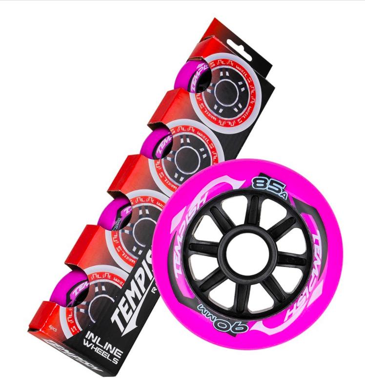 """Колеса для коньков роликовых Tempish """"RADICAL COLOR"""" 90x24, розовые"""